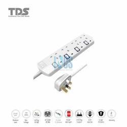 TDS Trailing Socket-4 Way-2 Metre BS